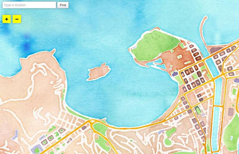 Mapa de Donostia en acuarela
