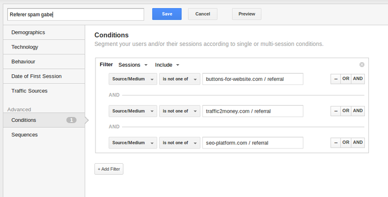 Segmentuak - Google Analytics