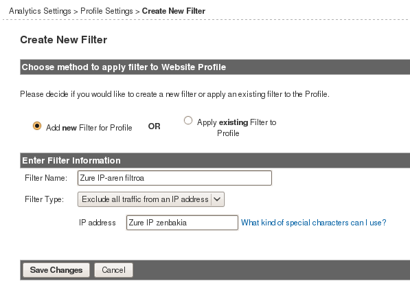 Analytics IP helbide filtroa
